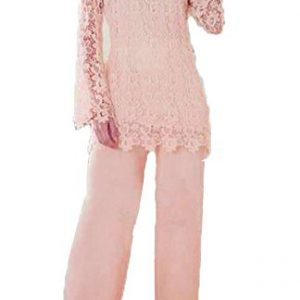 Dislax Two Piece Lace Mother of Bride Pants Suit pink US 18plus