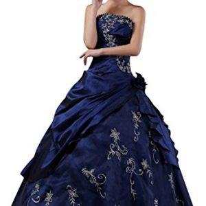 DLFashion Strapless A-line Embroidered Taffeta Prom Dress L-14 Blue