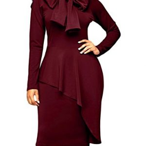 Dokotoo Womens Plus Size Office Elegant Formal Cotton Ladies High Neck Long Sleeve Peplum Bodycon Midi Pencil Dresses Party Under 20 Wine XX-Large