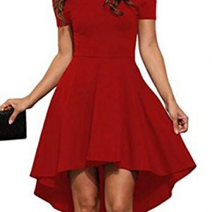 DOTIN Women off Shoulder Dress Short Sleeve Swing Dovetail Swallowtail Dresses