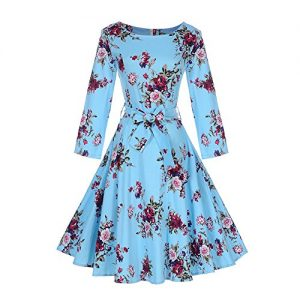 DREAMLOVER Retro Floral Dress Vintage Long Sleeve Tea Dress With Belt