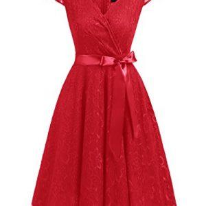 Dresstells Short V Neck Bridesmaid Ruched Dress Lace Cocktail Dresses With Belt Red S