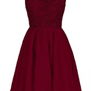 Dresstore Women's Lace Bridesmaid Formal Short Homecoming Dress Burgundy US 12