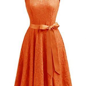 Dressystar DS0009 Women's Floral Lace Dress Short Bridesmaid Dresses With Sheer Neckline L Orange