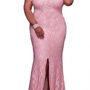 Elapsy Womens Plus Size Off Shoulder Strapless High Slit Floral Maxi Party Long Cocktail Dress Pink XXX-Large