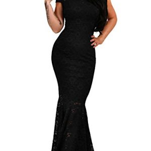 Elapsy Womens Sexy Off Shoulder Bardot Lace Evening Gown Fishtail Maxi Dress Black X-Large