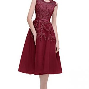 Elegant Beads Lace Appliques Sheer Mesh Flare Party Dress Short Bridesmaid Dress