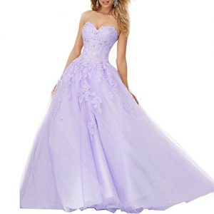 Elley Women's Lace Applique Sweet Sixteen Girl Birthday Party Backless Long Tulle Quinceanera Dress Lilac US6