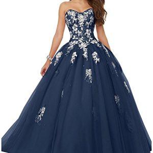 Elley Women's Sweetheart Lace Applique Sweet 16 Corset Back Floor Length Ball Gown Quinceanera Pagenat Dress Navy Blue US16