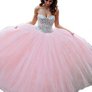Elley Women's Sweetheart Rhinestone Bodice Backless Floor Length Prom Homecoming Long Ball Gown Quinceanera Dress Pink US10