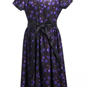 Emma Riley Girls' Short Sleeve Printed Chiffon Party Dress With Satin Belt, Purple Cherry, 10