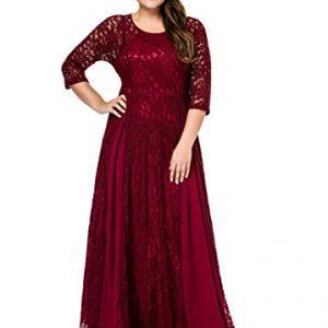 ESPRLIA Women's Plus Size Floral Lace 3/4 Sleeve Wedding Maxi Dress (5X, Wine)
