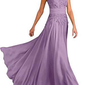 Ever Girl Women's Deep V-Neck Cap Sleeves Long Chiffon Mother of Bride Dresses Lilac US24W