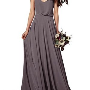 EverLove Women's Long Spaghetti Straps Prom Dress Chiffon Bridesmaid Dresses Dark Grey US18W