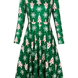 Faddare Christmas Dresses For Women, New Arrivals Flare Dress Juniors,Green Tree