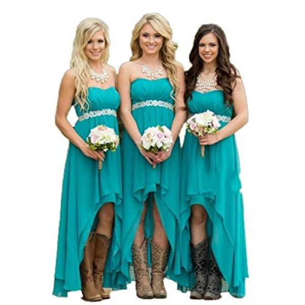 Fanciest Women Strapless High Low Bridesmaid Dresses Wedding Party Gowns Turquoise Us8