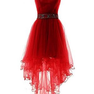 Fanciest Women's Strapless Beaded High Low Prom Dresses Short Homecoming Gowns Red US6