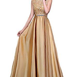 Fanhao Women's Elegant O Neck Floral Lace Satin Long Evening Prom Dress,Golden,XS