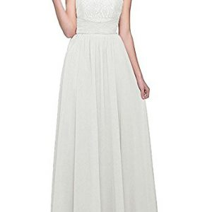 Firose High Neckline Halter Lace A-line Chiffon Floor-length Bridesmaid Dress Ivory US20 plus
