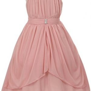 Flower Girl Beaded Neck Trim Chiffon Special Occasion Dress for Big Girl Dusty Rose 12 20.73