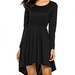 GAMISS Women's Long Sleeve High Low Skater Dress Wedding Cocktail Party Dress(Black,2XL)