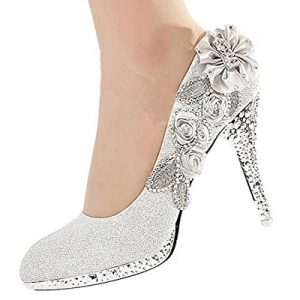 Getmorebeauty Women's Silver Lace Flower Pearls Closed Toes Wedding Shoes 7 B(M) US