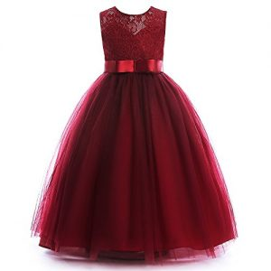 Glamulice Girls Lace Bridesmaid Dress Long A Line Wedding Pageant Dresses Tulle Party Gown Age 3-14Y (13-14Y, Wine Red)