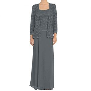 H.S.D Mother of the Bride Dress Chiffon Formal Gowns with Jacket Steel Grey 18W
