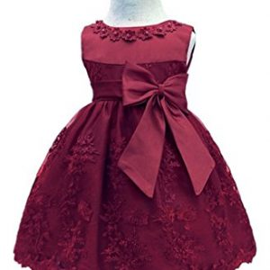 H.X Baby Girl's Newborn Bowknot Gauze Christening Baptism Dress Infant Flower Girls Wedding Dresses 12 Color (6M/6-9 Months, Wine Red)