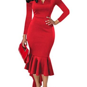Happy Sailed Women Off Shoulder High Low Bodycon Cocktail Party Knee Lengh Dresses, Medium Red