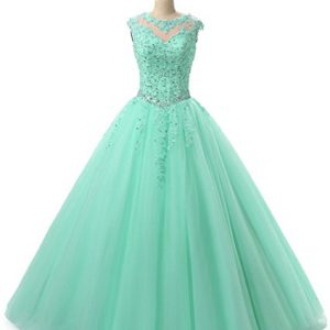 HEIMO Lace Appliques Ball Gown Evening Prom Dress Beading Sequined Quinceanera Dresses Long 2017 H152 6 Mint Green