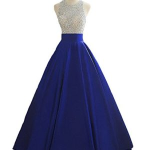 HEIMO Women's Sequins Keyhole Back Evening Ball Gown Beaded Prom Formal Dresses Long H095 4 Royal Blue