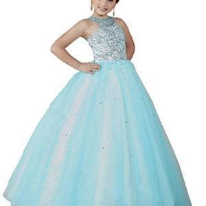 HuaMei Girls Princess Tulle Beaded Straps Ball Gowns Flower Girl Pageant Dresses 12 US Baby Blue