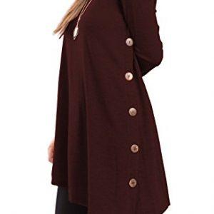 iGENJUN Women's Long Sleeve Scoop Neck Button Side Sweater Tunic Dress,XXL,Burgundy
