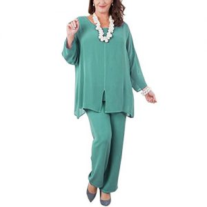 Ike Chimbandi Chiffon Mother Of The Bride Pant Suits With Long Sleeves
