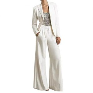 Ike Chimbandi Women's White Three Pieces Mother Of The Bride Pant Suits Silver Sequined Wedding Guest Dress