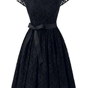 IVNIS RS90033 Women's Vintage Lace V Back Bridesmaid Party Dress Short Prom Dress Cap Sleeve Black S