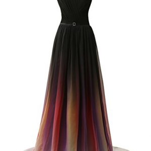 JAEDEN Gradient Chiffon Formal Evening Dresses Long Party Prom Gown Black Two US18W