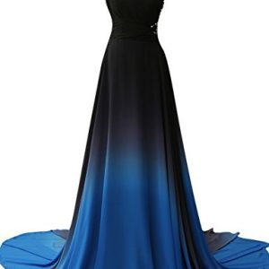 JAEDEN Gradient Chiffon Formal Evening Dresses Long Party Prom Gown Blue Four US10