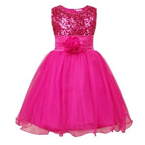 JerrisApparel Little Girls' Sequin Mesh Flower Ball Gown Party Dress Tulle Prom (7, Rose)