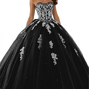 JINGDRESS Womens Ball Gowns Party Cosplay Dresses Sweetheart Quinceanera Dresses Black 4