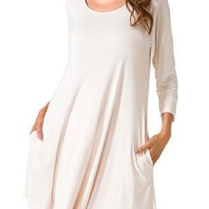 JollieLovin Women's Casual Swing 3/4 Sleeve Pockets T-shirt Loose Dress (Beige, 3X)