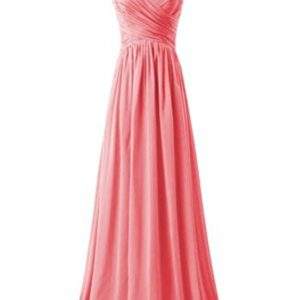 KARMA PROM Women's Chiffon V-neck Sleeveless Prom Dress Simple Bridesmaid Dress Coral us17w