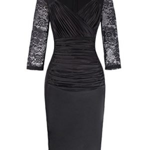 Kate Kasin Women's Ruffle Satin Front Cocktail Party Dress Lace Sleeve Black KK1000