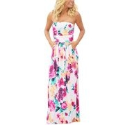 Kbook Womens Strapless Vintage Floral Print Summer Beach Party Boho Pocket Maxi Dress, Medium, White Floral
