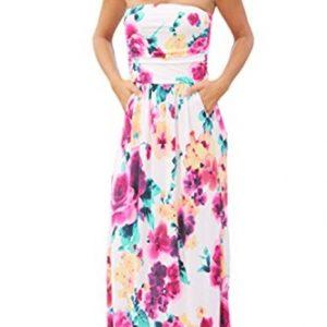 Kbook Womens Strapless Vintage Floral Print Summer Beach Party Boho Pocket Maxi Dress, Medium, White Floral