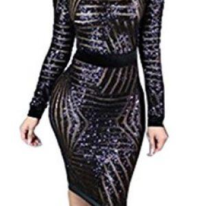 Kearia Womens Sexy Black Sequin Scoop Neck Long Sleeve Bodycon Party Midi Dress Black Medium