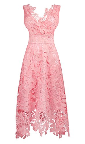 KIMILILY Women's Floral Lace V Neck Formal Swing Cocktail Evening Party Dress(f,XL)