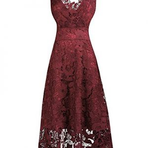 KIMILILY Women's Floral Lace V Neck Formal Swing Cocktail Evening Party Dress(Q,M)
