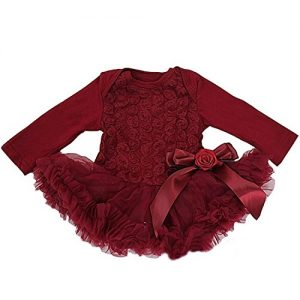 Kirei Sui Baby Rosettes Long Sleeve Bodysuit Tutu Large Ruby Red